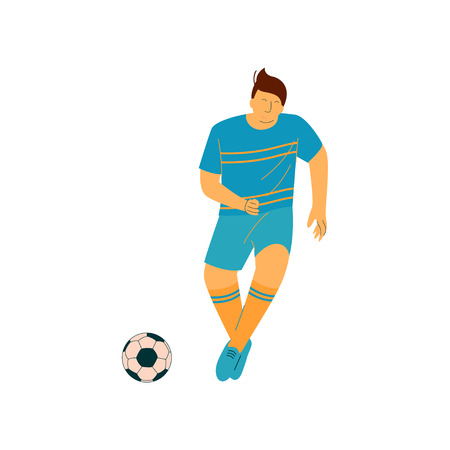 Man Playing Soccer, Male Soccer Footballer Character in Blue Sports Uniform Vector Illustration on White Background.