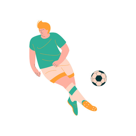 Male Soccer Player Playing with Ball, Footballer Character in Sports Uniform Vector Illustration on White Background. Foto de archivo - 124856715