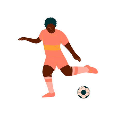 Male Soccer Player Kicking Ball, African American Male Footballer Character in Orange Sports Uniform Vector Illustration on White Background. Foto de archivo - 124856716