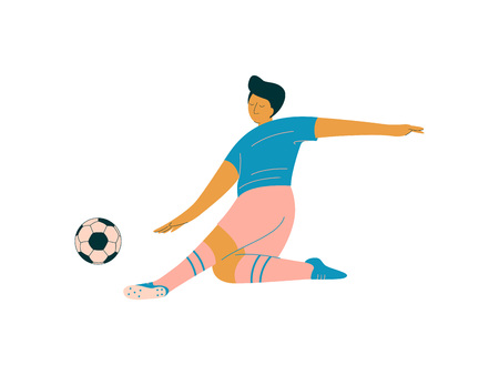 Male Soccer Player, Footballer Character in Sports Uniform Playing with Bakk Vector Illustration on White Background.