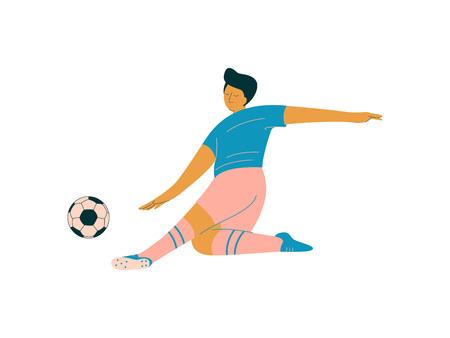 Male Soccer Player, Footballer Character in Sports Uniform Playing with Bakk Vector Illustration on White Background. Vecteurs