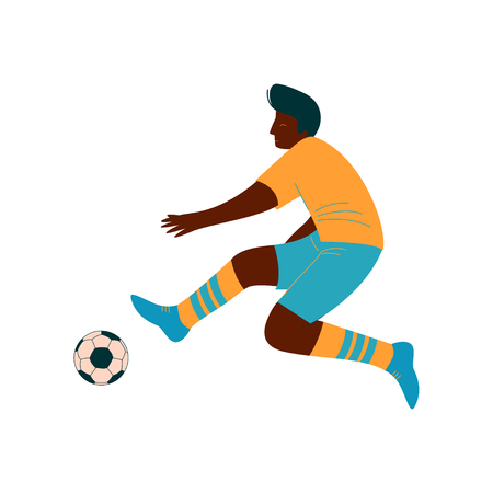 Male Soccer Player Kicking Ball, African American Male Footballer Character in Sports Uniform Vector Illustration on White Background. Illustration