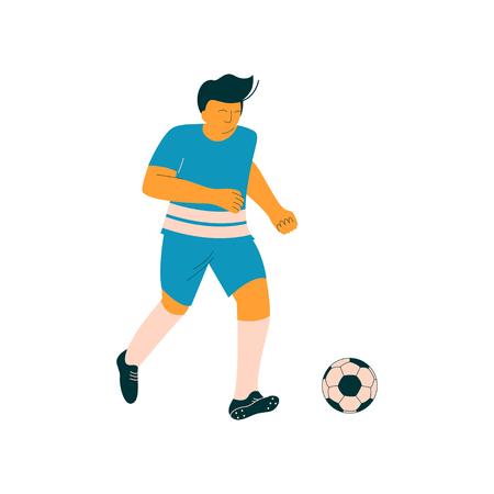 Male Soccer Player, Footballer Character in Blue Sports Uniform Vector Illustration
