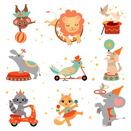 Słodkie śmieszne zwierzęta w cyrkowym zestawie pokazowym, skoki przez płonące obręcze, żonglerka, równoważenie ilustracji wektorowych na białym tle.