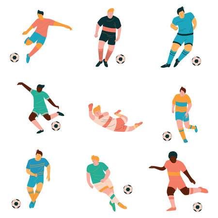 Soccer Players Set, Male Footballer Characters in Sports Uniform Playing in Different Positions Vector Illustration on White Background.