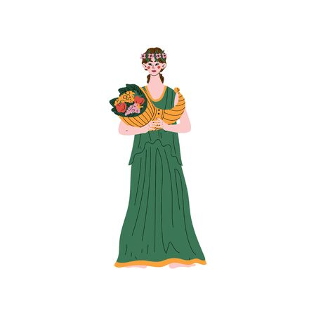 Demetra Greek Goddess, Ancient Greece Mythology Hero Vector Illustration