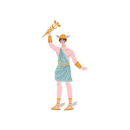 Hermes Greek God, Ancient Greece Mythology Hero Vector Illustration