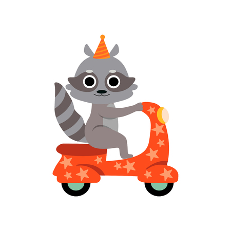 Raccoon Riding on Motorbike, Cute Funny Animal Performing in Circus Show Vector Illustration on White Background.