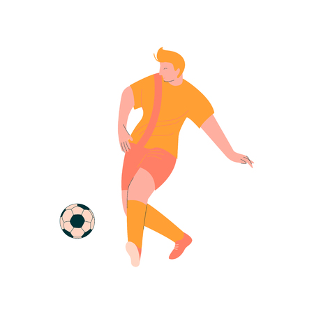 Soccer Player, Male Footballer Character in Orange Sports Uniform with Ball Vector Illustration