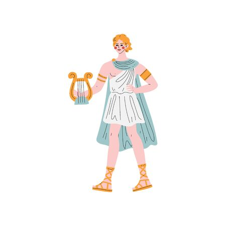 Apollo Greek God, Ancient Greece Mythology Hero Vector Illustration