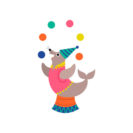 Cute Seal Juggling Balls on Stage, Funny Animal Performing in Circus Show Vector Illustration on White Background.