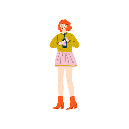 Young Woman in Casual Clothes Standing with Bottle of Alcohol Drink Vector Illustration on White Background.