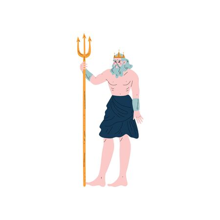 Poseidon Greek God, Ancient Greece Mythology Hero Vector Illustration Illustration