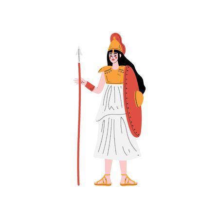 Athena Greek Goddess, Ancient Greece Mythology Hero Vector Illustration Vettoriali