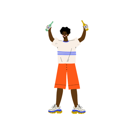 Young African American Man in Casual Clothes Holding Two Bottles of Alcohol Drink Vector Illustration on White Background.