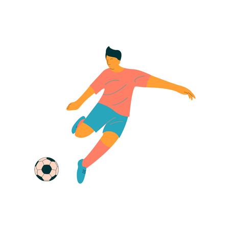 Male Soccer Player Kicking Ball, Footballer Character in Sports Uniform Vector Illustration on White Background.