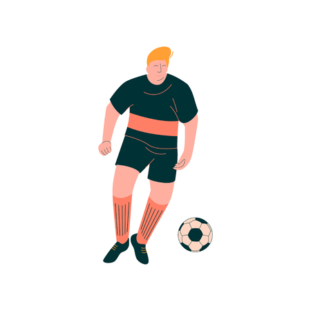 Male Soccer Player, Footballer Character in Sports Uniform Vector Illustration