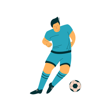 Male Soccer Player with Ball, Footballer Character in Sports Uniform Vector Illustration on White Background.
