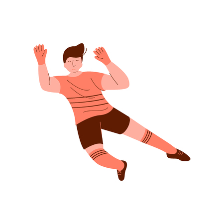 Male Goalkeeper, Footballer Character Playing Soccer in Sports Uniform Vector Illustration on White Background. Illustration