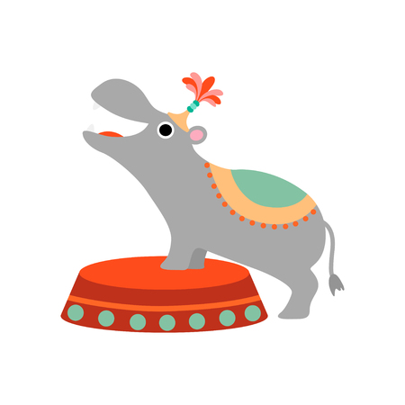 Cute Hippo at Stage, Funny Animal Performing in Circus Show Vector Illustration on White Background.