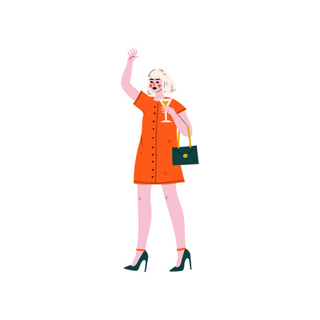 Young Blonde Woman in Red Dress Standing with Glass of Alcohol Drink Vector Illustration on White Background. Illustration