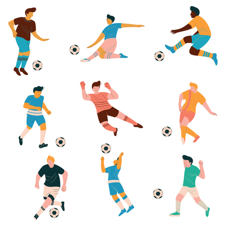 Soccer Players Set, Male Footballer Characters in Sports Uniform Playing Soccer in Different Positions Vector Illustration on White Background. Illustration