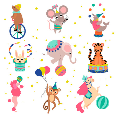 Cute Funny Animals Performing in Circus Show Set Vector Illustration on White Background.