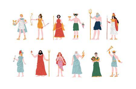 Greek Gods set, Apollo, Hera, Dionysus, Zeus, Demetra, Hermes, Clio, Artemis, Aphrodite, Poseidon, Ancient Greece Mythology Heroes Vector Illustration