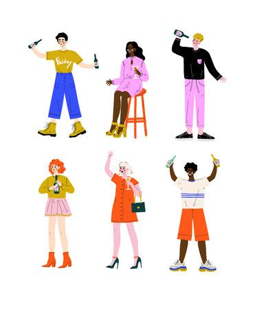 Ensemble de personnes ivres, jeunes femmes et hommes debout avec des verres et des bouteilles de boissons alcoolisées Illustration vectorielle sur fond blanc.