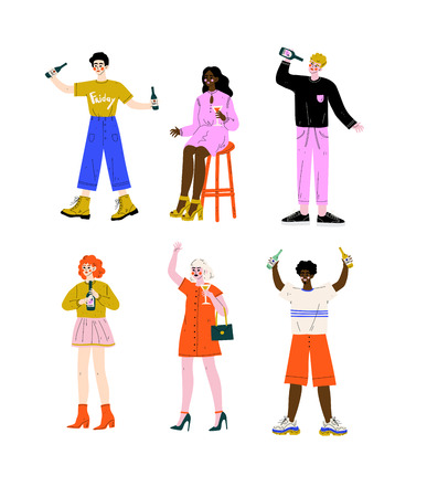 Drunk People Set, Young Women and Men Standing with Glasses and Bottles of Alcohol Drinks Vector Illustration on White Background.