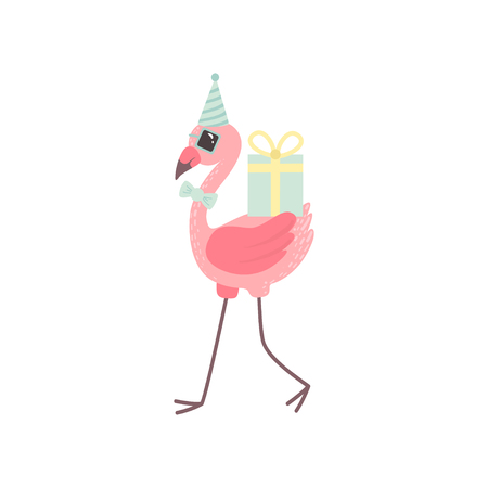 Cute Flamingo Wearing Party Hat and Bow Tie Walking with Gift Boxes, Beautiful Exotic Bird Character Vector Illustration on White Background.