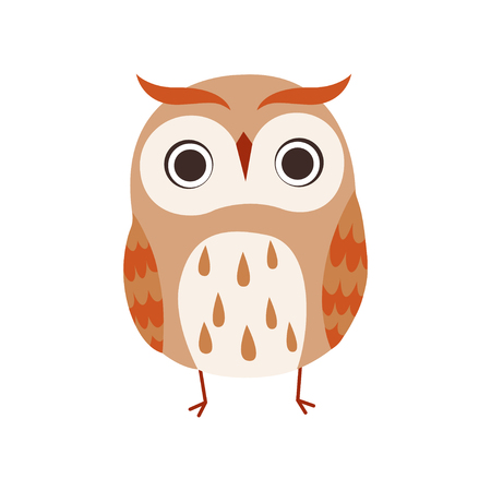 Cute Owlet, Adorable Owl Bird Vector Illustration on White Background.