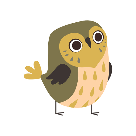 Cute Adorable Owlet Bird Cartoon Character Vector Illustration on White Background.
