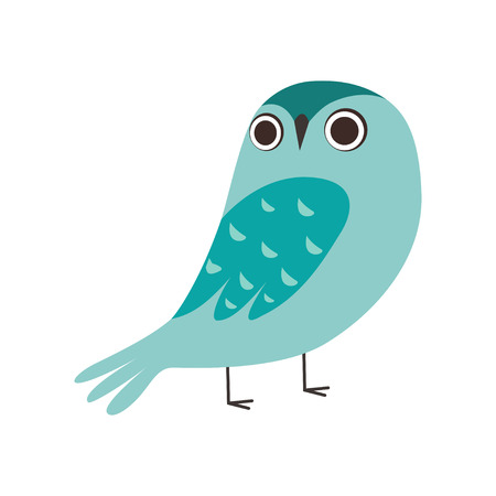 Cute Owlet, Adorable Blue Owl Bird Cartoon Character Vector Illustration on White Background.