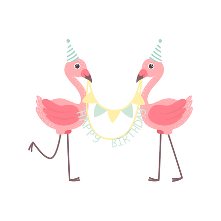 Cute Flamingos Wearing Party Hats Holding Party Flags with Happy Birthday Letters, Beautiful Exotic Bird Character Vector Illustration on White Background.