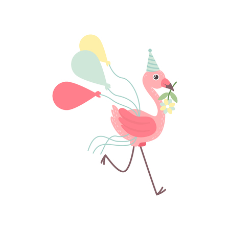 Cute Flamingo Wearing Party Hat Running with Colorful Balloons and Flower In its Beak, Beautiful Exotic Bird Character Vector Illustration on White Background. Ilustração