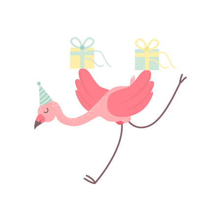 Cute Flamingo Wearing Party Hat Running with Gift Boxes, Beautiful Exotic Bird Character Vector Illustration on White Background.