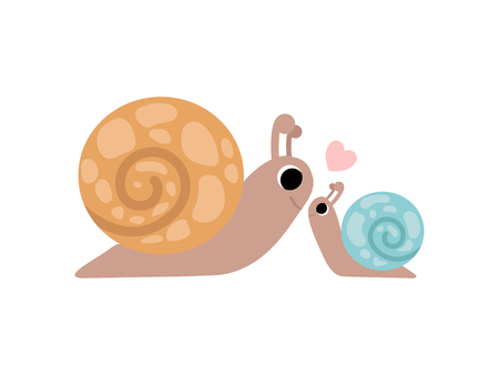 Mother Snail and Its Baby, Cute Gastropods Family Vector Illustration  イラスト・ベクター素材
