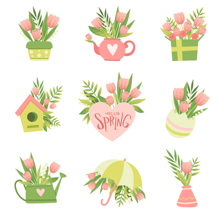 Collection of Bouquets of Pink Flowers, Hello Spring Floral Design Template Vector Illustration on White Background. Illustration
