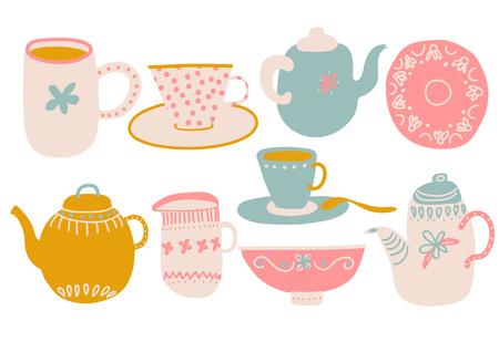 Simpatico set da caffè o tè, elementi di design con teiera, tazza da tè, piattino, brocca di latte e tovagliolo illustrazione vettoriale Vettoriali