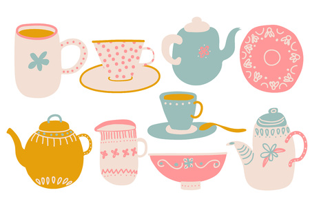 Cute Coffee or Tea Set, Design Elements with Teapot, Teacup, Saucer, Jug Milk and Napkin Vector Illustration
