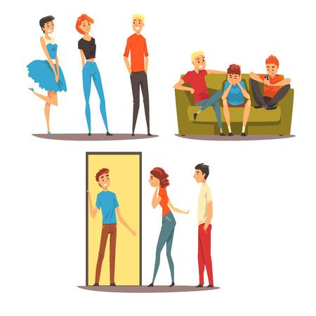 Amici maschi trascorrono del tempo insieme, ragazzi che giocano a calcio, seduti in un caffè, ne, migliori amici concetto vettoriale illustrazione isolato su sfondo bianco.