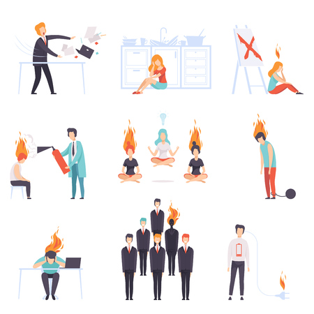 Exhausted men and women with burning brains set, people of different professions, emotional burnout concept, stress, headache, depression, psychological problems vector Illustration