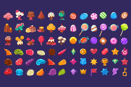 Colorful jelly glossy figures of different shapes, sweet candy land cute fantasy elements, sweets, candies user interface assets for mobile apps or video games vector Illustration Illustration