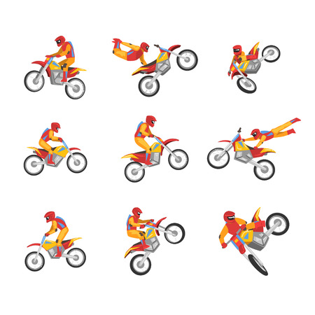 Collection of Motorcyclist Driving Motorcycle Performing Tricks, Motocross Racing, Sportsman Performing Tricks Vector Illustration Isolated on White Background. Illustration