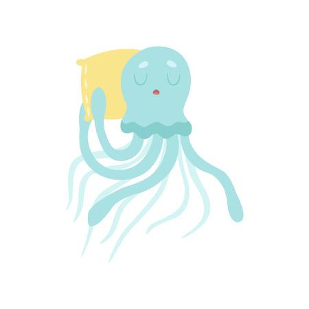 Cute Octopus Sea Creature Sleeping on Pillow Vector Illustration on White Background. Ilustrace
