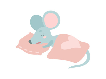 Cute Mouse Animal Sleeping on Its Bed Vector Illustration on White Background. Çizim