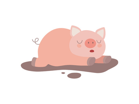 Cute Funny Pig Lying in Dirty Puddle Vector Illustration on White Background.