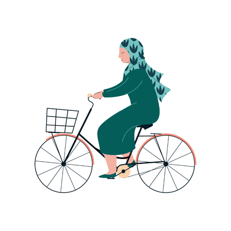Muslim Woman in Hijab Riding Bike, Modern Arab Girl Character in Traditional Clothing Vector Illustration