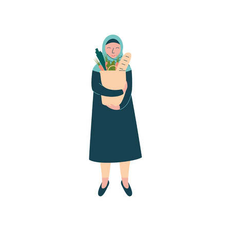Muslim Woman in Hijab Holding Paper Bag of Groceries, Modern Arab Girl Character in Traditional Clothing Vector Illustration Иллюстрация